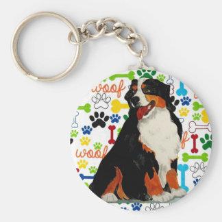 Bernese Mountain dog woof paw bone Key Ring