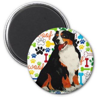 Bernese Mountain dog woof paw bone Magnet