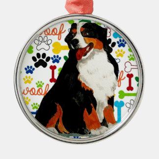 Bernese Mountain dog woof paw bone Metal Ornament