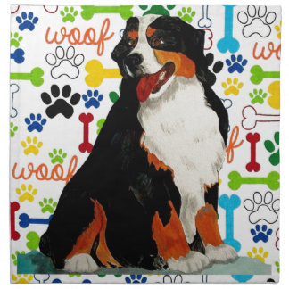 Bernese Mountain dog woof paw bone Napkin