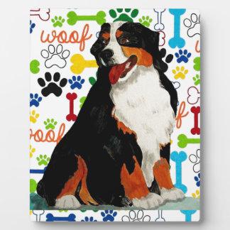 Bernese Mountain dog woof paw bone Plaque