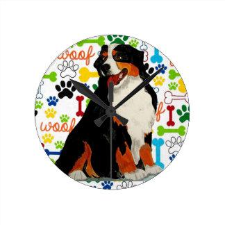 Bernese Mountain dog woof paw bone Round Clock