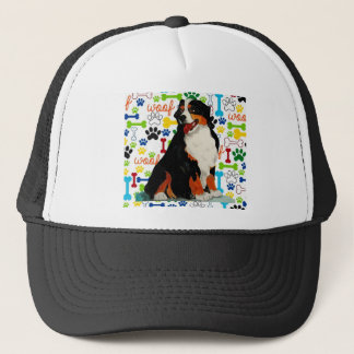 Bernese Mountain dog woof paw bone Trucker Hat