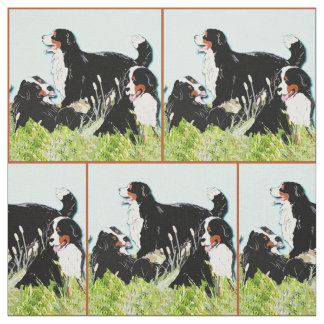 Bernese Mountain dogs In The Grass Fabric