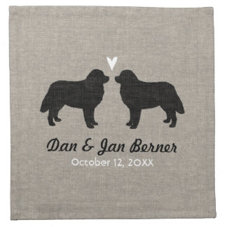 Bernese Mountain Dogs Wedding with Custom Text Napkin