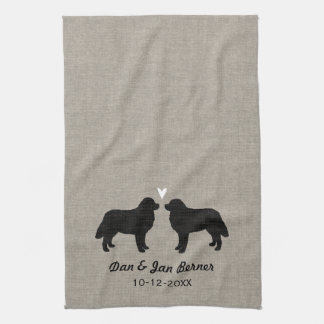Bernese Mountain Dogs with Heart and Text Tea Towel