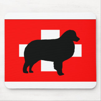 bernese mt dog silhouette switzerland flag mouse pad