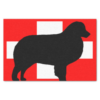 bernese mt dog silhouette switzerland flag tissue paper