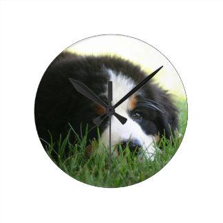 Bernese Puppy Round Clock