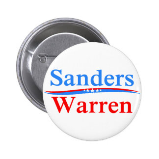 BERNIE SANDERS - ELIZABETH WARREN 2016 PRESIDENT 6 CM ROUND BADGE