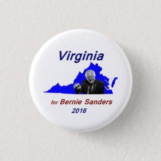Bernie Sanders in the outline of Virginia 3 Cm Round Badge