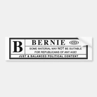 Bernie Sanders Warning Label Bumper Sticker