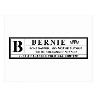 Bernie Sanders Warning Label Postcard