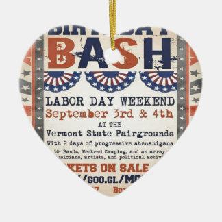 Bernie's 75th Birthday Bash and Labor Day Festival Ceramic Heart Decoration