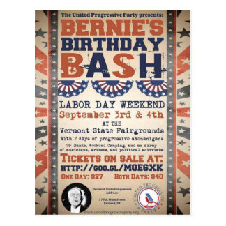 Bernie's 75th Birthday Bash and Labor Day Festival Postcard