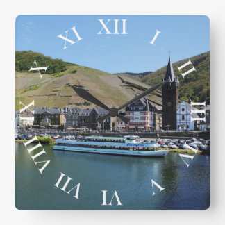 Bernkastel Kues at Moselle Square Wall Clock