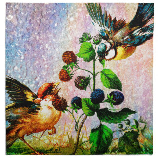BERRIES AND BIRDS NAPKIN