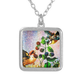 BERRIES AND BIRDS SILVER PLATED NECKLACE