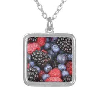 berries background silver plated necklace