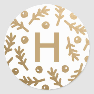 Berries & Boughs Holiday Monogram Stickers - Gold