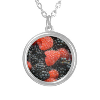 Berries Close Up Silver Plated Necklace