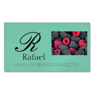 Berries Fruit Elegant Name Monogram Business Magnetic Business Cards