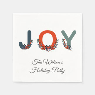 Berries Joy Christmas Berries Holiday Party Paper Serviettes