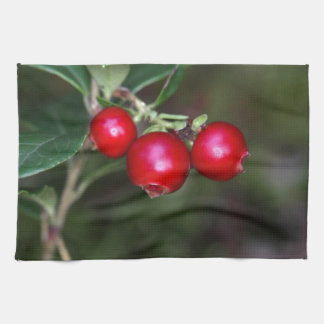 Berries of a wild lingonberry (Vaccinium vitis-ide Tea Towel