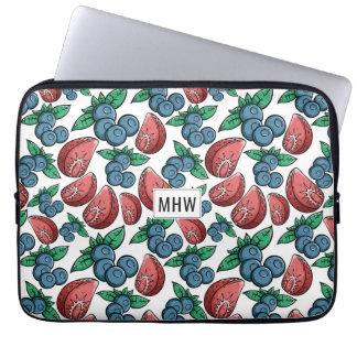 Berries Pattern custom monogram laptop sleeves