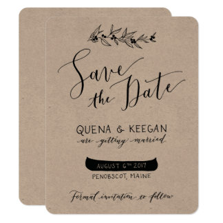 Berry and Canoe Save the Date - Quena and Keegan Card