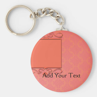 Berry and Papaya Damask Basic Round Button Key Ring