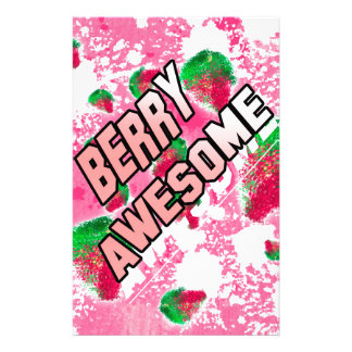 Berry Awesome Fruity Strawberries Stationery Design