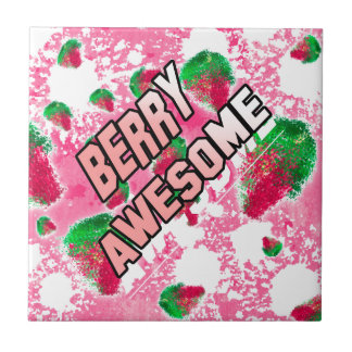 Berry Awesome Fruity Strawberries Tile
