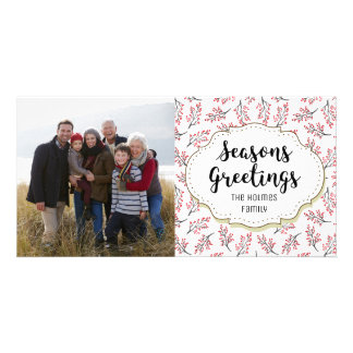 Berry Branches Twigs Seasons Greetings Photo Card