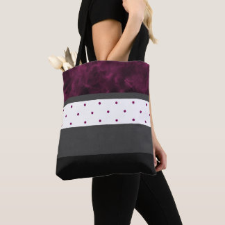 Berry Charcoal Black Polka Dot Stripes Tote Bag