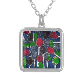 berry fruit background silver plated necklace