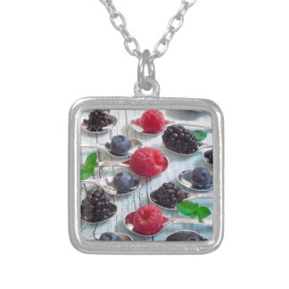 berry fruit silver plated necklace