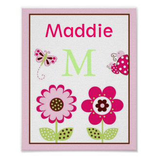 Berry Garden Ladybug Butterfly Wall Art Name Print