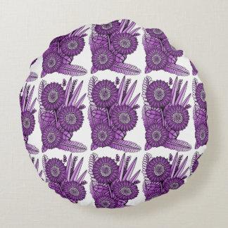 Berry Gerbera Daisy Flower Bouquet Round Cushion