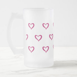 Berry heart frosted glass beer mug
