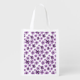 Berry Lucky Shamrock Clover Reusable Grocery Bag