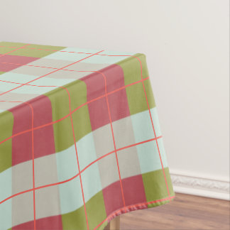 Berry Mint Olive Pebble Plaid Tablecloth