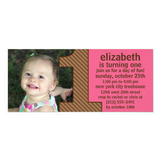 Berry Pink & Brown One Is Fun Photo First Birthday 10 Cm X 24 Cm Invitation Card