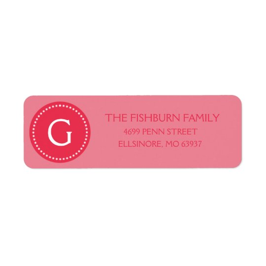 Berry Pink Muted Monogram Custom Monogrammed Return Address Label