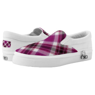 Berry Plaid Slip On Sneakers