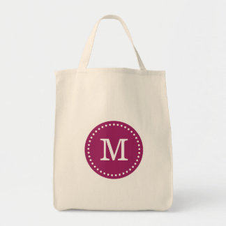 Berry Purple Custom Monogram Tote Bag