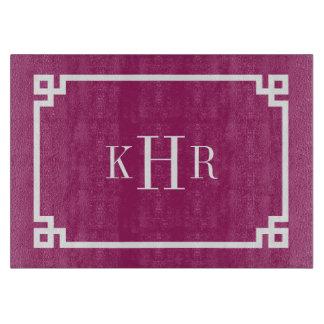 Berry Purple Greek Key Border Custom Monogram Cutting Board