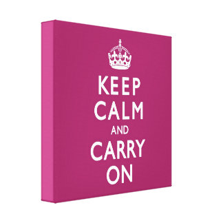 Berry Purple Keep Calm and Carry On Canvas Print