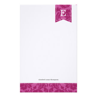 Berry Purple Vintage Damask Custom Monogram Stationery