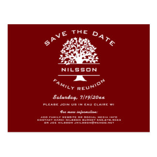 Berry Red Family Tree Reunion Save the Date Postcard